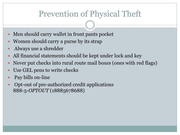 Prevention of Physical Theft