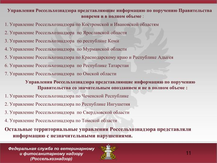 Управления Россельхознадзора представляющие информацию по поручению Правительства вовремя и в полном объеме