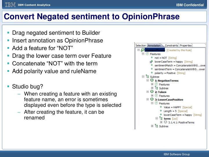 Convert Negated sentiment to OpinionPhrase
