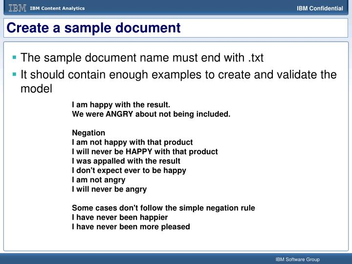 Create a sample document