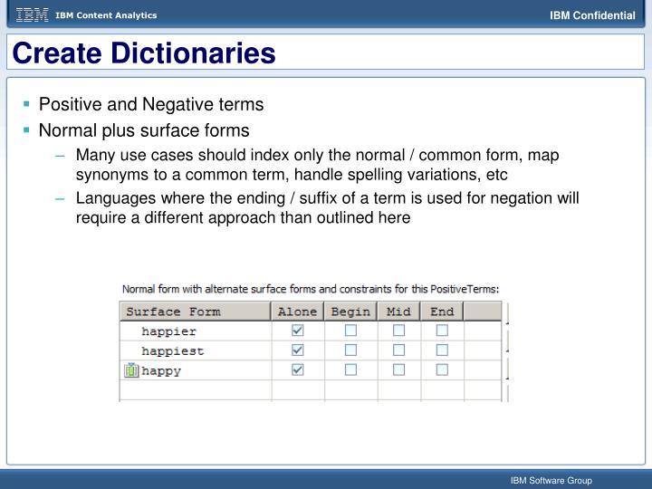 Create Dictionaries
