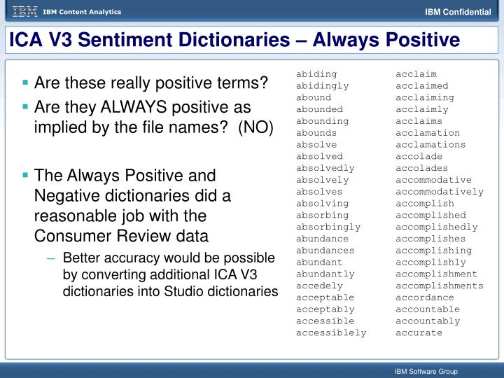 ICA V3 Sentiment Dictionaries – Always Positive