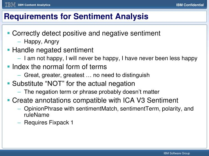Requirements for Sentiment Analysis