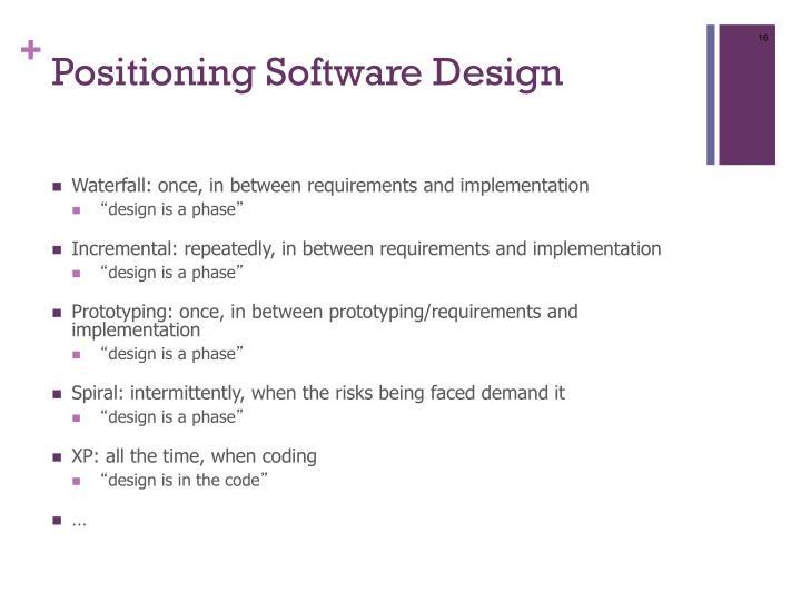 Positioning Software Design