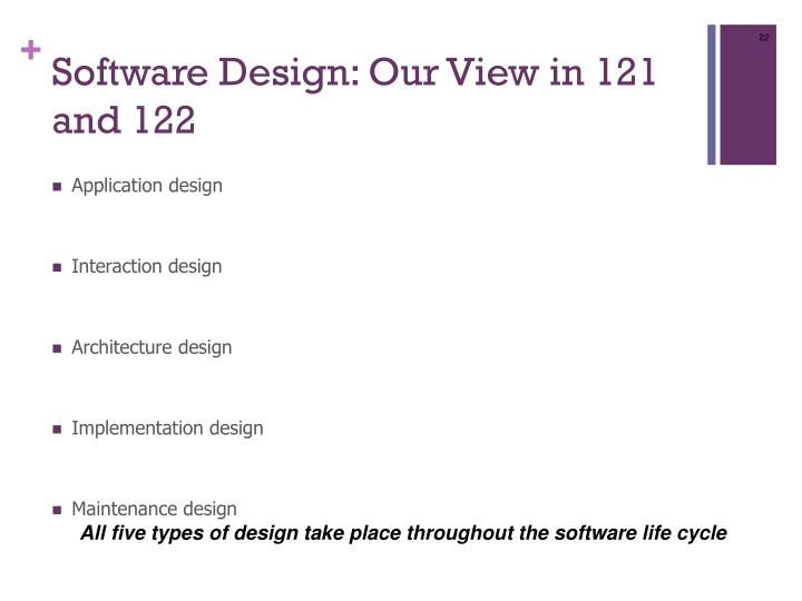 Software Design: Our View in 121 and 122
