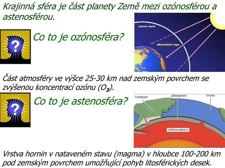 Krajinná sféra je část planety Země mezi ozónosférou a astenosférou.