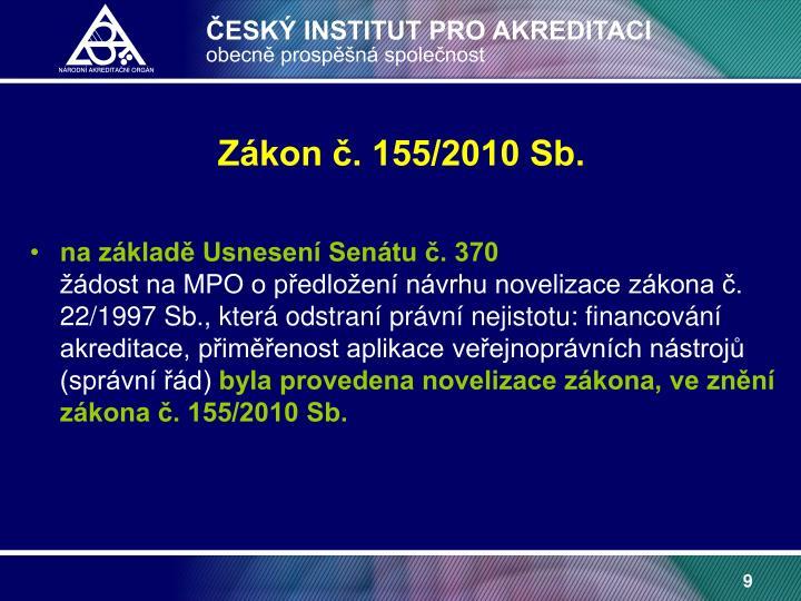 Zákon č. 155/2010 Sb.