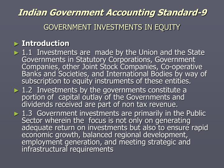 Indian Government Accounting Standard-9