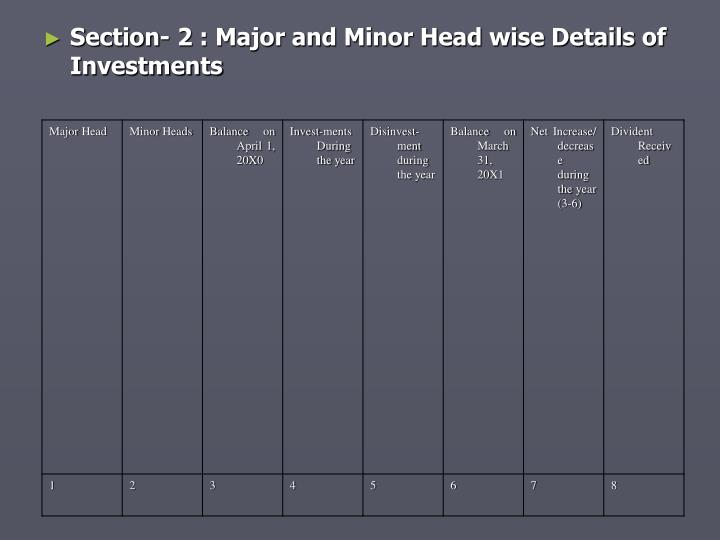 Section- 2 : Major and Minor Head wise Details of Investments