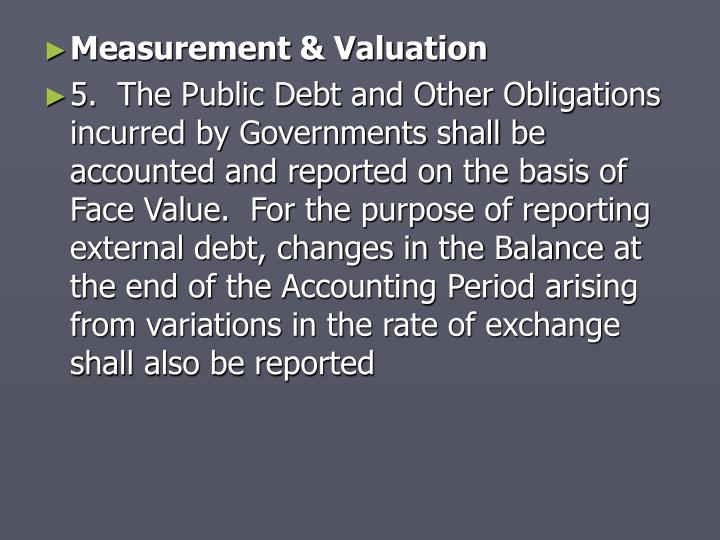 Measurement & Valuation