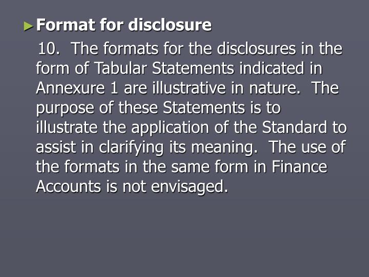 Format for disclosure