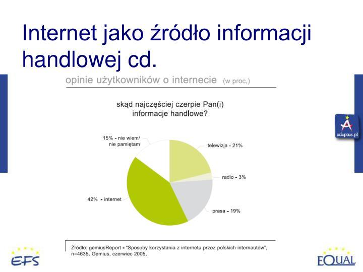 Internet jako źródło informacji handlowej cd.