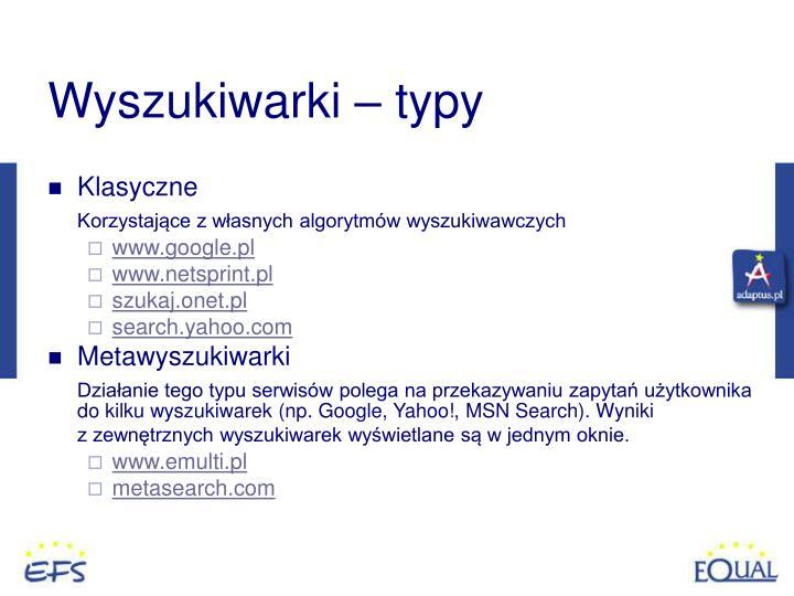 Wyszukiwarki – typy