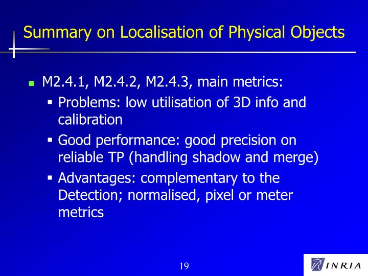 Summary on Localisation of Physical Objects