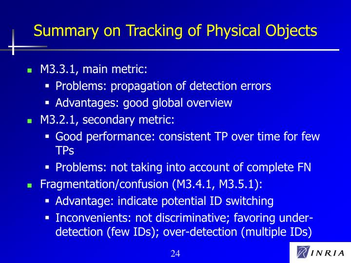 Summary on Tracking of Physical Objects