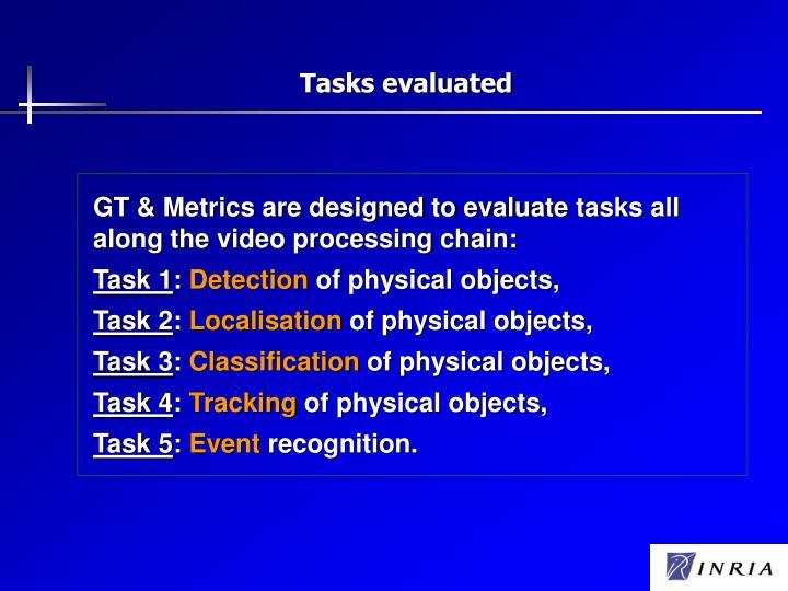 Tasks evaluated