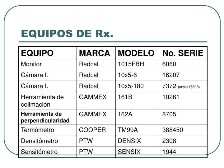 EQUIPOS DE Rx.