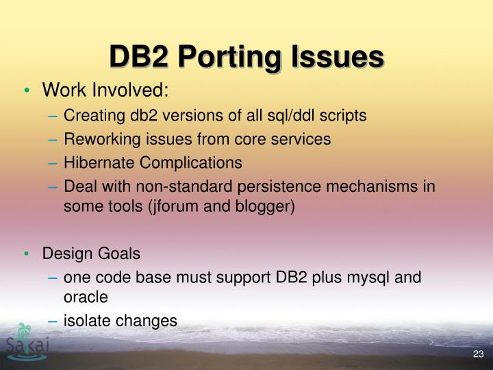 DB2 Porting Issues