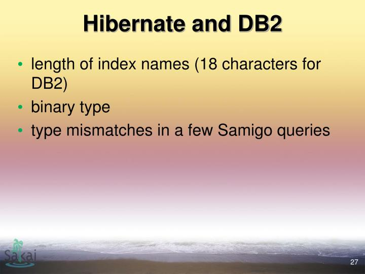 Hibernate and DB2