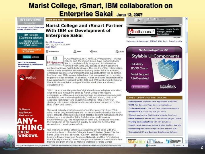 Marist college rsmart ibm collaboration on enterprise sakai june 12 2007