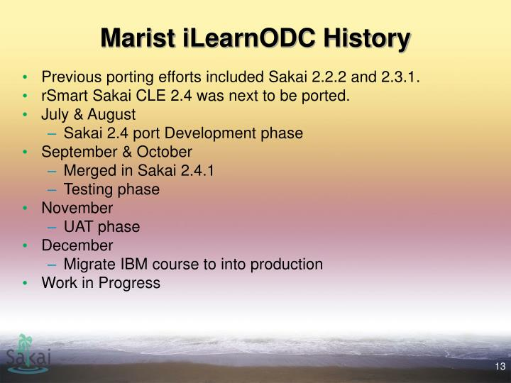 Marist iLearnODC History