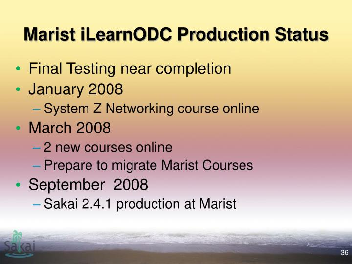 Marist iLearnODC Production Status