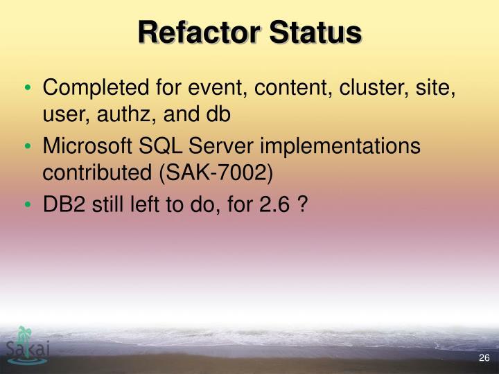 Refactor Status