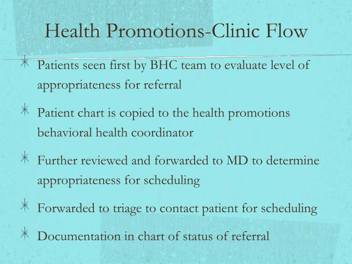 Health Promotions-Clinic Flow