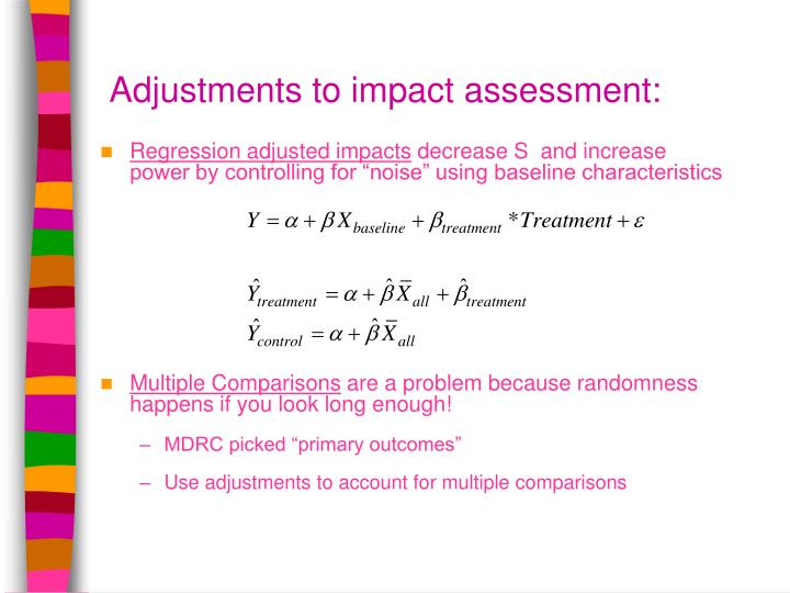 Adjustments to impact assessment: