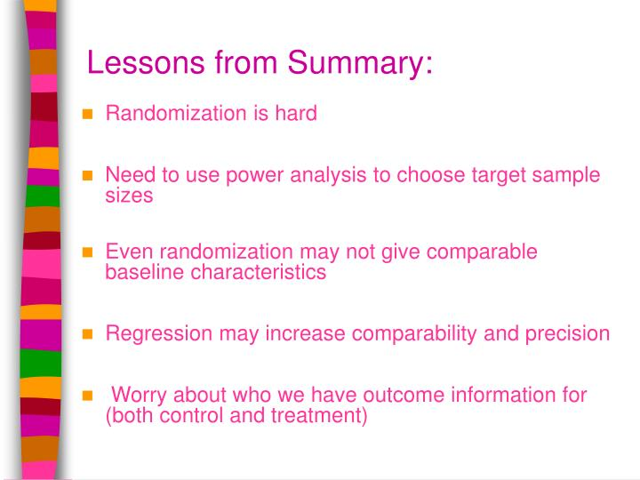 Lessons from Summary: