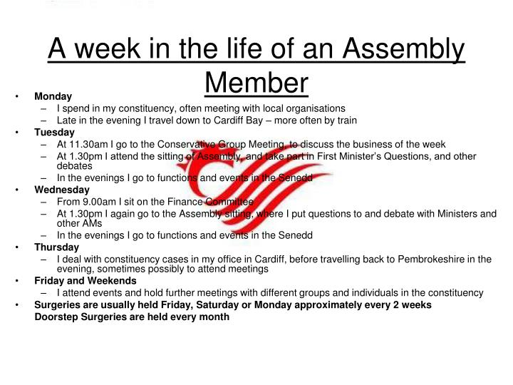 A week in the life of an Assembly Member