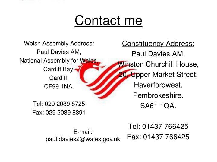 Welsh Assembly Address: