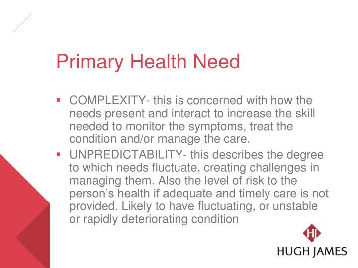 Primary Health Need