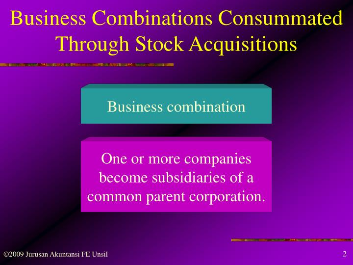 Business combinations consummated through stock acquisitions