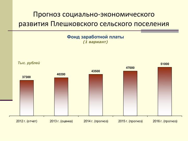 Прогноз социально-экономического развития Плешковского сельского поселения