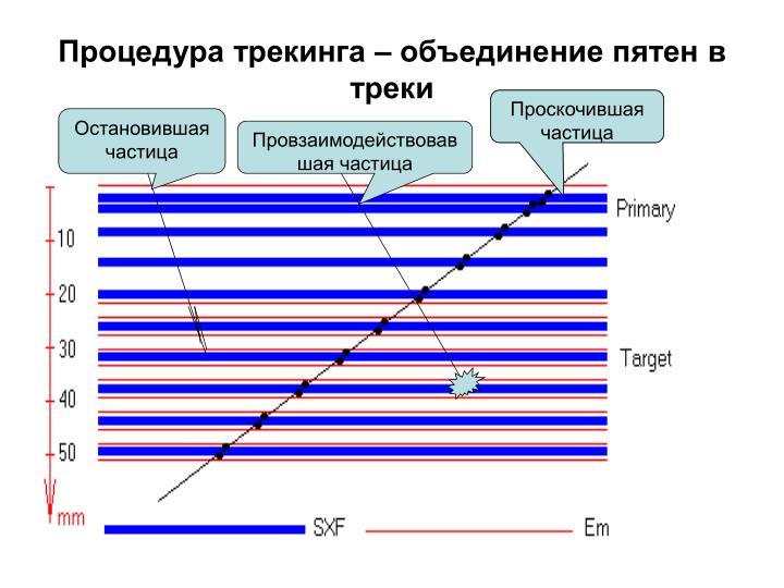 Процедура трекинга – объединение пятен в треки