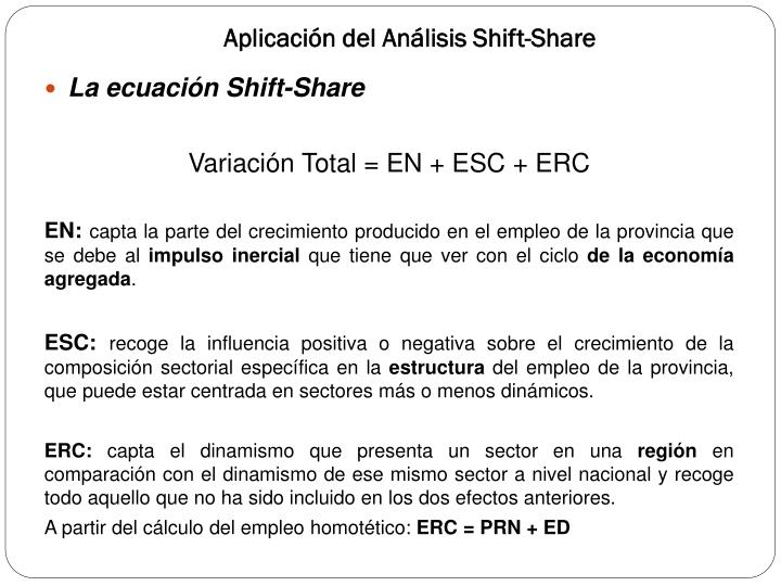 Aplicación del Análisis Shift-Share