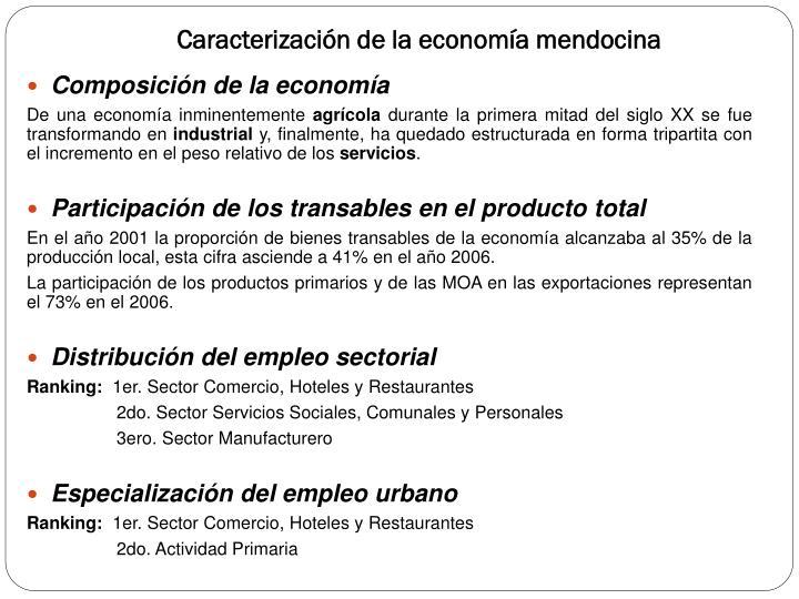Caracterización de la economía mendocina