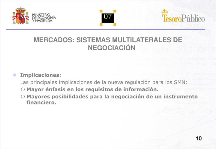 MERCADOS: SISTEMAS MULTILATERALES DE NEGOCIACIÓN