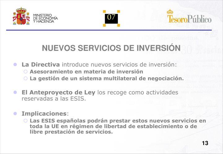 NUEVOS SERVICIOS DE INVERSIÓN
