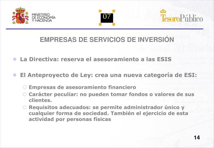 EMPRESAS DE SERVICIOS DE INVERSIÓN
