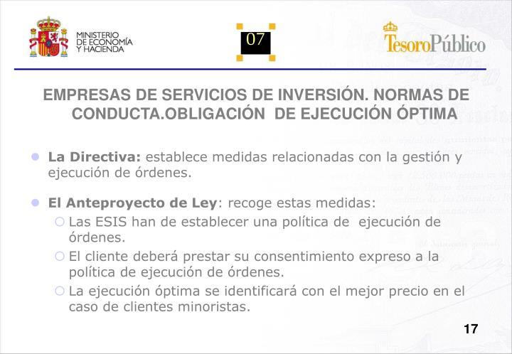 EMPRESAS DE SERVICIOS DE INVERSIÓN. NORMAS DE CONDUCTA.