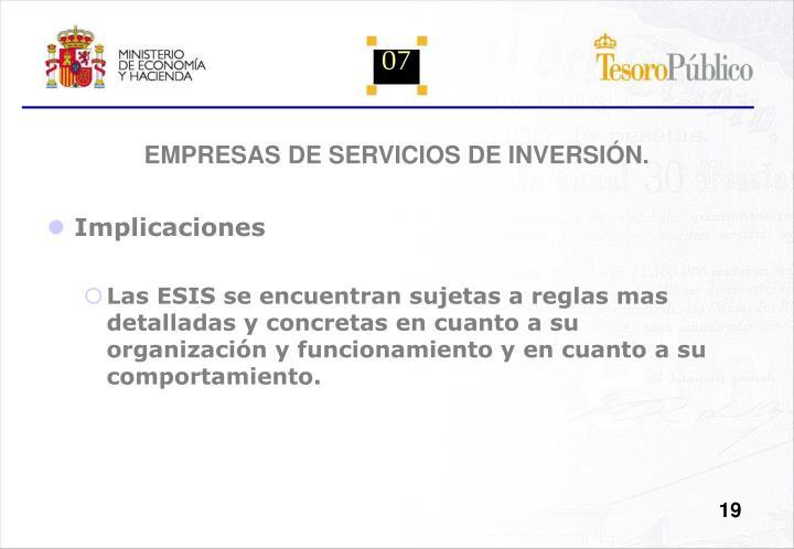 EMPRESAS DE SERVICIOS DE INVERSIÓN.