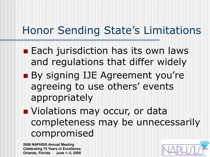 Honor Sending State's Limitations