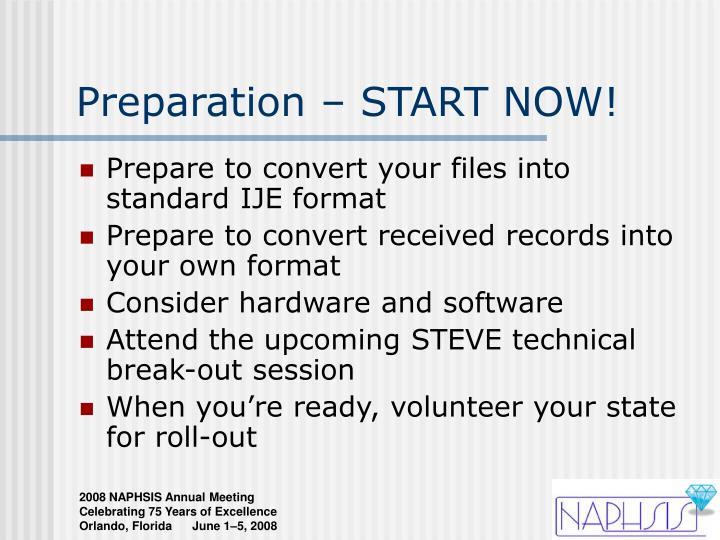 Preparation – START NOW!