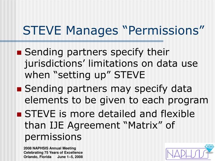 "STEVE Manages ""Permissions"""