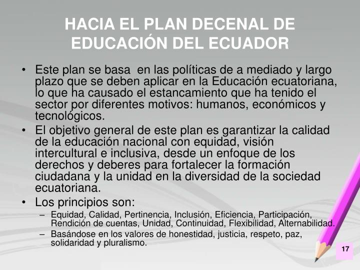 HACIA EL PLAN DECENAL DE EDUCACIÓN DEL ECUADOR