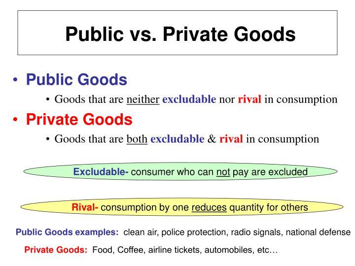 Public vs. Private Goods