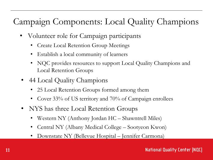 Campaign Components: Local Quality Champions