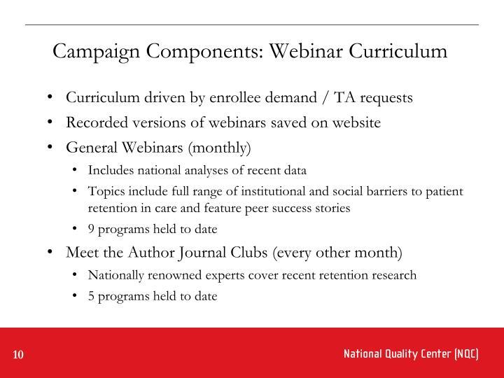 Campaign Components: Webinar Curriculum